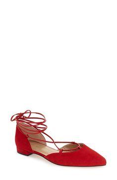 STUART WEITZMAN 'Gilligan' Pointy Toe Ghillie Flat (Women). #stuartweitzman #shoes #flats