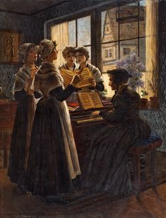 Walther Firle (1859–1929) — Singing Lesson at the Orphanage  (990×1300)