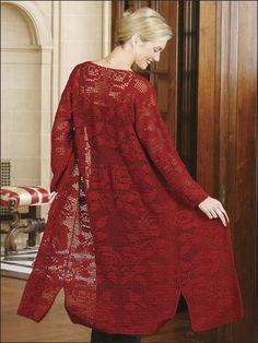Crochet - Crochet Clothing - Cardigan Patterns - Roses in Filet Duster