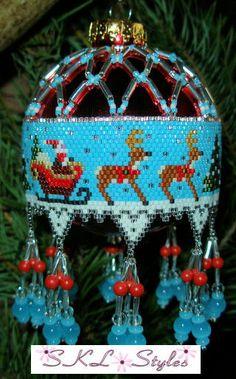 Santa and Reindeer woven Delica bead Christmas Ornament. Beaded Christmas Ornaments, Handmade Christmas, Christmas Crafts, Seed Bead Patterns, Beading Patterns, Beaded Ornament Covers, Beaded Banners, Beaded Crafts, Santa And Reindeer