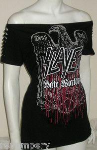 Slayer Tshirt Top Slashed Sleeves Upcycled Death Metal DIY BNWT OOAK   eBay