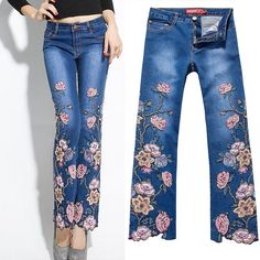 Cheap denim jacket fur collar, Buy Quality denim jean dye directly from China jeans label Suppliers: Descriptionas pic showedCondition: NewOrigin:made in ChinaVery simpl Diy Jeans, Lace Jeans, Jeans Pants, Floral Jeans, Embellished Jeans, Embroidered Clothes, Cheap Denim Jackets, Jeans Rosa, Denim Jacket With Fur