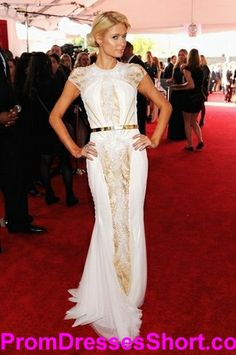 Paris Hilton Short Sleeve Sheath Golden and White Grammy Celebrity Evening Dresses [#Gm014] - $298.00