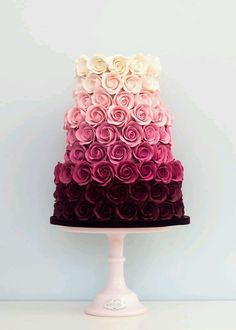 Ombre Rose Wedding Cake This is beautiful. And they got to have it for a wedding… Ombre Rose Wedding Cake This is beautiful. And they got to have it for a wedding cake but it's beautiful Fancy Cakes, Cute Cakes, Pretty Cakes, London Cake, Bolo Cake, Wedding Cake Roses, Cream Wedding Cakes, Pretty Wedding Cakes, Amazing Wedding Cakes