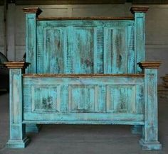 Turquoise wash rustic bedroom furniture!http://www ...