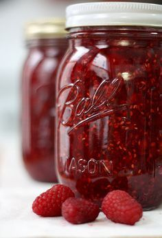 Quick and Easy Raspberry Freezer Jam ~   Easy way to make your jam and preserve it all year--it does not take any fancy equipment, so anyone can do it.