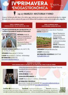 Eventos correspondientes a la #IVprimaveraenogastronomica Puedes tener información detallada en el siguiente enlace: http://www.rutadelvinoriberadelguadiana/eventos/agenda