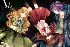 Anime picture with ib (game) garry (Ib) eve (Ib) mary (Ib) long hair short hair blonde hair red eyes brown hair smile multiple girls green eyes purple eyes purple hair one eye closed inscription wink hair over one eye dress male Rpg Maker, Maker Game, Game 3, Ib Mary, Ib And Garry, Mad Father, Japanese Horror, Corpse Party, Rpg Horror Games