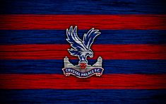 Download wallpapers Crystal Palace, 4k, Premier League, logo, England, wooden texture, FC Crystal Palace, soccer, football, Crystal Palace FC