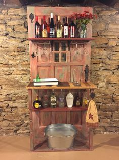 Bar made from old door and scrap wood