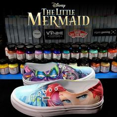 Outsides of The Little Mermaid Custom Vans. We now have a sale on Slip-On Vans…
