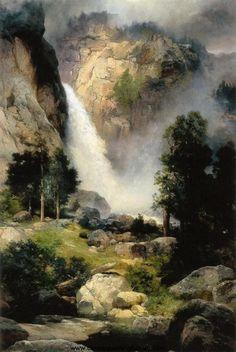 Cascade Falls, Yosemite - Thomas Moran 1905