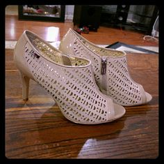 Calvin Klein Beige Heels Beautiful beige open toe heels look gorgeous with dresses or jeans. Gently worn, these shoes still have a lot of joy to bring! Calvin Klein Shoes Heels