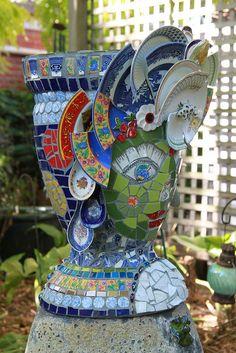 Garden Goddess side view by gillm_mosaics Mosaic Garden Art, Mosaic Tile Art, Mosaic Flower Pots, Glass Garden Art, Mosaic Diy, Mosaic Crafts, Mosaic Glass, Garden Totems, Mosaic Artwork