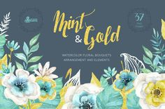 Mint & Gold Flowers by OctopusArtis on Creative Market