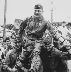 historicallysound:  Robin Olds after his 100th mission over Vietnam.