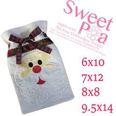 Santa gift bag in the hoop 6x10 7x12 8x8 9.5x14 machine embroidery design