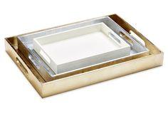 Asst. of 3 Metallic Trays, Gold/Silver