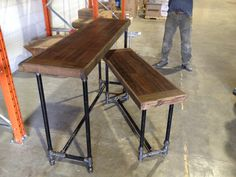 Bar and bench set for the bike shop.