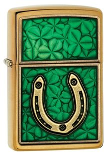 29243 - The horseshoe has often been regarded as a good luck talisman through the years. This Zippo lighter carries on the tradition with a gold-toned horseshoe! Comes packaged in an environmentally friendly gift box. Zippo windproof lighters are delivered without lighter fluid.  For optimal performance, fill with Zippo premium lighter fluid.