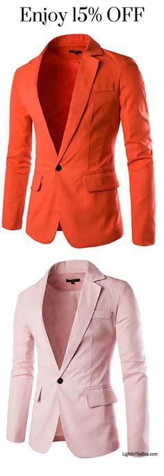 Men's Cotton Slim Blazer - Solid Colored