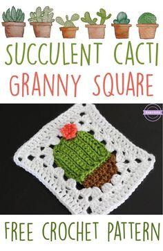 Succulent Cacti Granny Square   Free Crochet Pattern from Sewrella