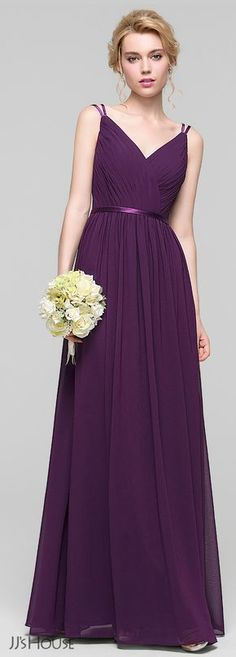 Wear this long grape colored bridesmaid dress to celebrate in style. The illusion bodice of this chiffon dress is so delicate with slender charmeuse spaghetti straps and sash. It is paired with a gorgeous V-shaped neckline and back detail. Elegant Dresses, Pretty Dresses, Beautiful Dresses, Party Gowns, Wedding Party Dresses, Dress Outfits, Fashion Dresses, Prom Dresses 2018, Frack