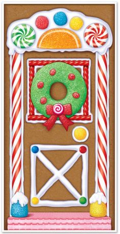 Beistle 20017 Gingerbread House Door Cover, x by Beistle. This cute door cover is made of plastic and can be used indoors or outdoors. It is printed to look like the door of a gingerbread house. Candy Land Christmas, Christmas Gingerbread, Christmas Fun, Christmas Ornaments, Gingerbread Houses, Gingerbread Crafts, Christmas Lights, Gingerbread Decorations, Christmas Door Decorations