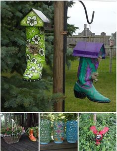 Garden Art Ideas garden art ideas diy junk garden art the garden glove decor home Recycled Rain Boots Boots In The Garden Pinterest The Ojays