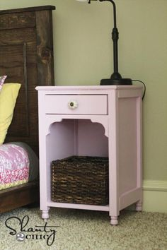 I want to make this!  DIY Furniture Plan from Ana-White.com  Build a pretty nightstand! Free plans! For the guest room, not in pink though! :)