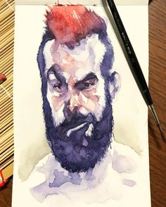 Getting back to my silly #watercolor #selfies hope you enjoy. . . #art #artwork #artoftheday #selfportrait #watercolorpainting #painting #sketch #sketchbook #sketchoftheday