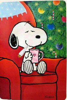 Christmas morning with Snoopy. from Peanuts by Charles Schulz Peanuts Christmas, Charlie Brown Christmas, Christmas Art, Winter Christmas, Christmas Morning, Christmas Coffee, Xmas, Christmas Lights, Christmas Feeling