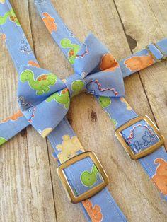 Dinosaur Bow Tie Dinosaur Suspender Set-Dinosaur by SweetNolaBaby
