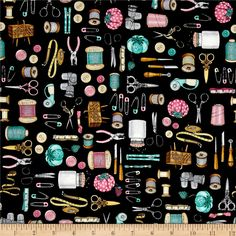 Cute as a Button Everything Sewing Black from @fabricdotcom  Designed by Dan Morris for Quilting Treasures, this cotton print collection features classic sewing themes with a vintage feel. Perfect for quilting, apparel, and home decor accents. Colors include black, pink, teal, aqua, brown, and cream.