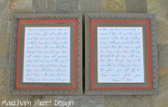 love that she typed up their wedding song and framed it. http://lorrinteriors.blogspot.com
