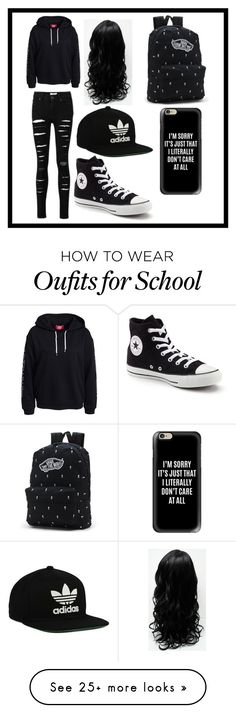 """A black school outfit"" by duckylovesshop on Polyvore featuring Converse, Vans, adidas Originals and Casetify"