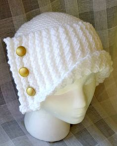 Ravelry: SN0WDR0PS's Winter White Cloche Winter White, Ravelry, Crochet Hats, Beanie, Projects, Fashion, Knitting Hats, Log Projects, Moda