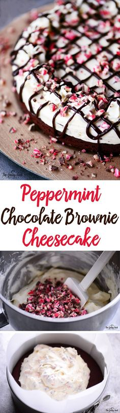 This Peppermint Chocolate Brownie Cheesecake recipe is perfect for the Christmas holidays. The cool, creamy, peppermint cheesecake is dotted with crunchy bits of peppermint bark and is finished off with a chewy brownie crust. #simplybeautifulhomemadecakes