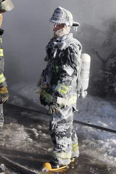 Photo of a firefighter from Hammond IN who helped put out a massive fire in F temps. True hero right here. Female Firefighter Quotes, Firefighter Love, Firefighter Training, Firefighter Pictures, Volunteer Firefighter, Tornados, Lake Michigan, Extreme Weather, Funny Pranks