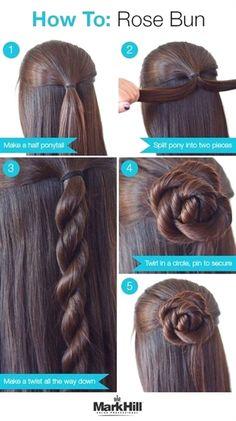 Easy step by step hair tutorial: rose bun Makeup Ideas Loading. Easy step by step hair tutorial: rose bun, Previous Post Next Post Chignon Rose, Rose Bun, Bun Updo, Easy Updo, Braided Updo, Simple Braids, Hair Simple, Simple Updo Tutorial, Updo Diy