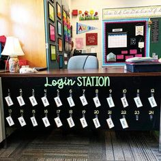 Login station for all student passwords. Cute organization idea for the elementary classroom. Future Classroom Login station for all student passwords. Cute organization idea for the elementary classroom. Classroom Hacks, Classroom Layout, 3rd Grade Classroom, Classroom Organisation, Teacher Organization, Classroom Design, School Classroom, Classroom Management, Future Classroom