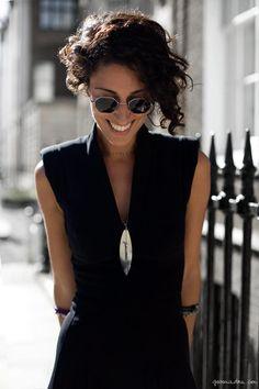 Yasmin Sewell, black dress, surfboard necklace, bracelets sunglasses / Garance Doré