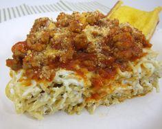 Baked Spasanga - Baked Cream Cheese Spaghetti Casserole