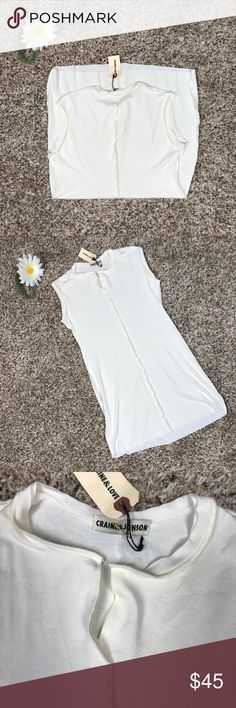 Craine & Jonson Stretch V-Neck Tank Off white, stretchy, long- Craine & Jonson Tank/ Henley.  94% Viscose, 6% Elastic, size 2, originally $145 Craine & Jonson Tops Tank Tops