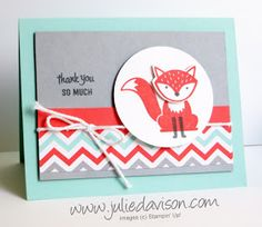handmade thank you card ... Foxy Friends ... like the layout design ... from www.juliedavison.com ... Stampin' Up!