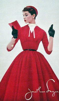 A beautiful ruby red dress from Jonathan Logan. #vintage #1950s #fashion #ads