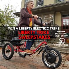 I just entered to Win a Liberty Electric Trike and YOU can too! Visit their website to enter. Share the sweepstakes for additional entries. Winner drawn randomly on Good Luck! New Electric Bike, Electric Tricycle, Tricycle Bike, Adult Tricycle, Free Starbucks Gift Card, Trick Riding, United Parcel Service, Online Sweepstakes, Restoration Services