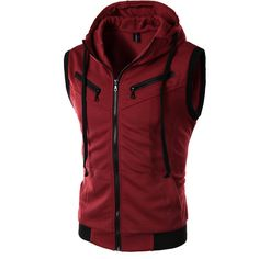 Men Male New Arrival Hooded Pockets Vest Sleeveless Waistcoats Wine Red/Gray/Dark Grey M/L/XL/XXL/XXXL 22-in Vests & Waistcoats from Men's Clothing & Accessories on Aliexpress.com | Alibaba Group