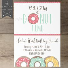 Donut Birthday Party Invitations / Invites / Rise and Shine it's donut time / kids birthday