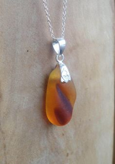 Orange Amberina Sea Glass Necklace Pendant by OysterLagoon on Etsy